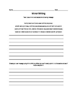 mirror writing activities