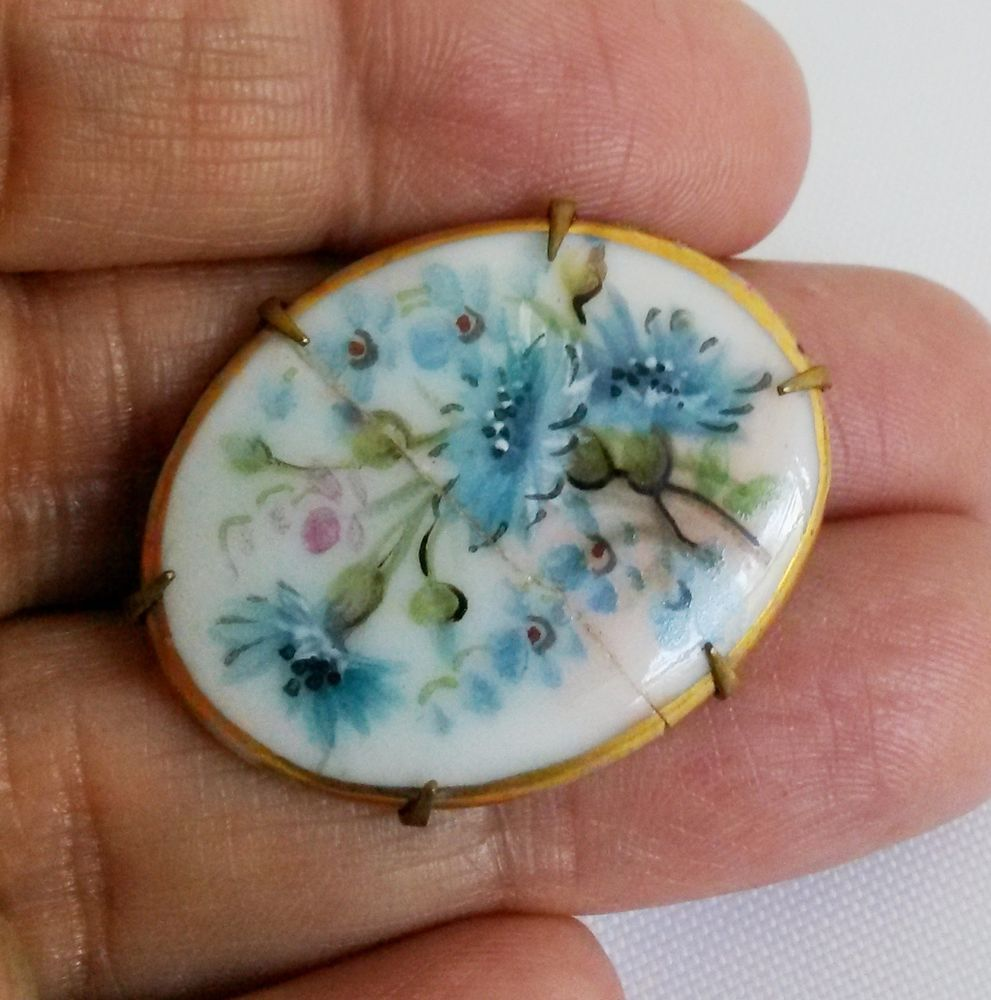 Victorian Porcelain Hand Painted Blue Flowers Pin Repaired #Notsigned
