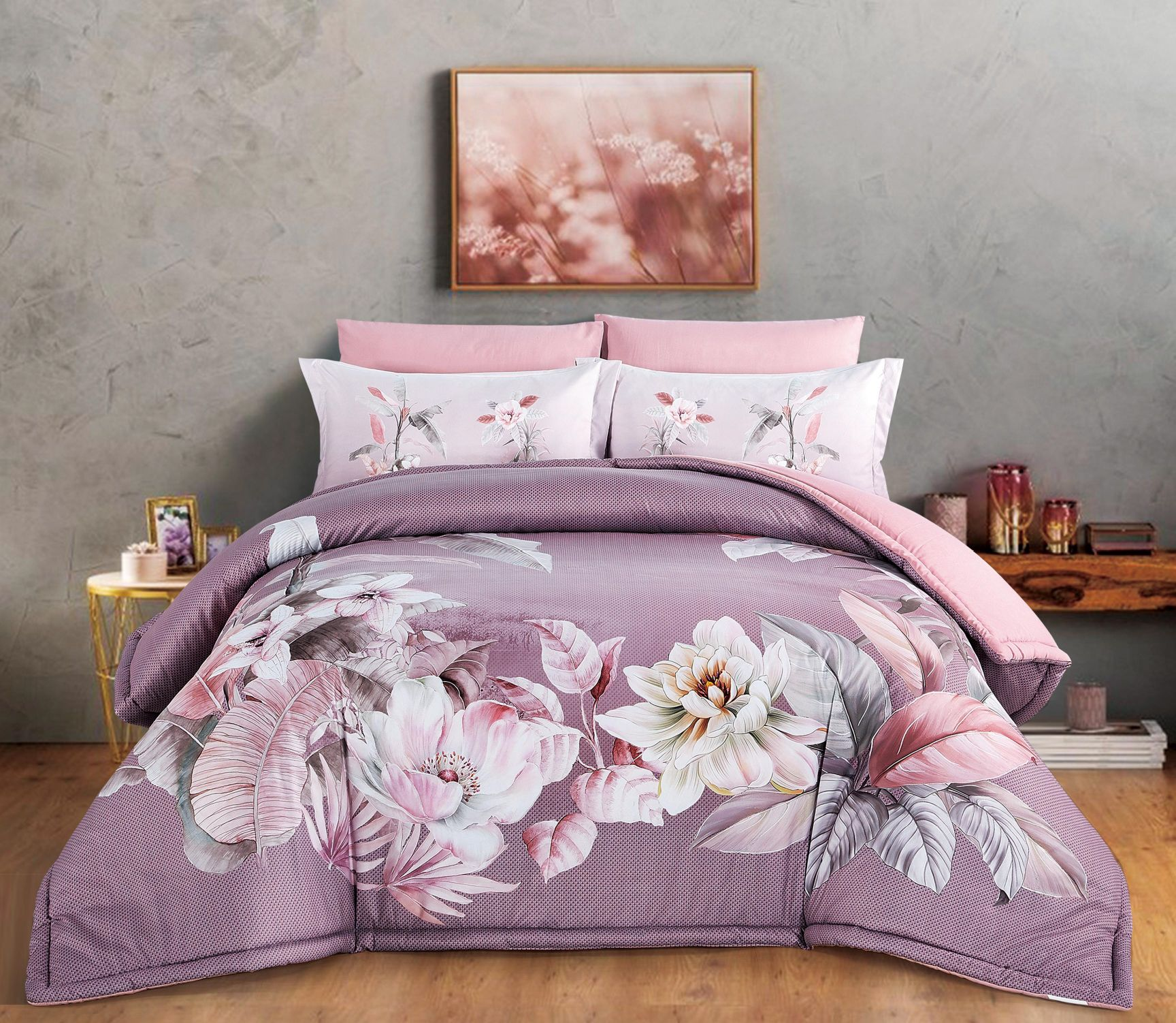 طقم لحاف Queena مشجر مجوز 6 قطع Bed Comforters Home