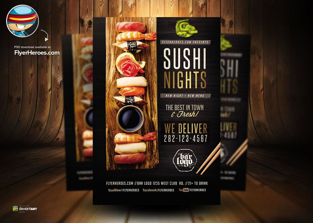 Sushi Nights PSD Flyer Template by flyertemplatesdeviantart - menu flyer template