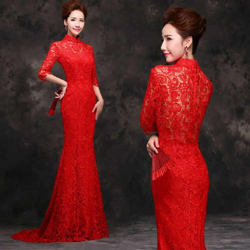 Hollow Out Red Lace Tail Long Cheongsam Bride Marry Wedding Chinese ...