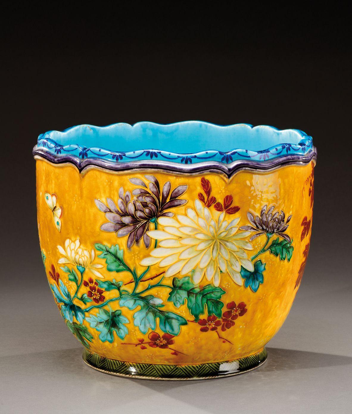 Theodore Deck 1823 1891 A Large Enamelled Ceramic Flower Pot