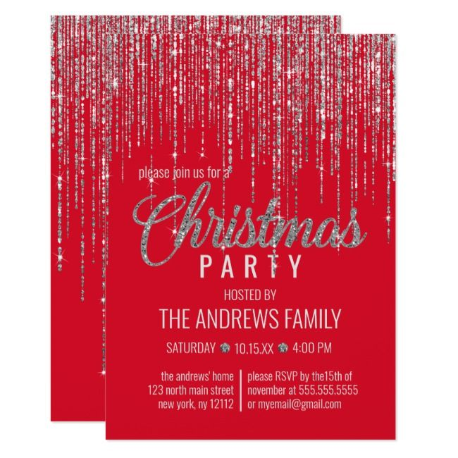 Chic Red Silver Glitter Fringe Curtain Christmas Invitation   Zazzle.com #curtainfringe