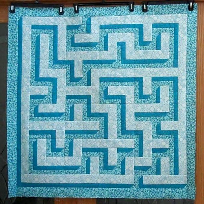 3D Maze Quilt #4 - About 4' square | Quiltys | Quilts, Quilt