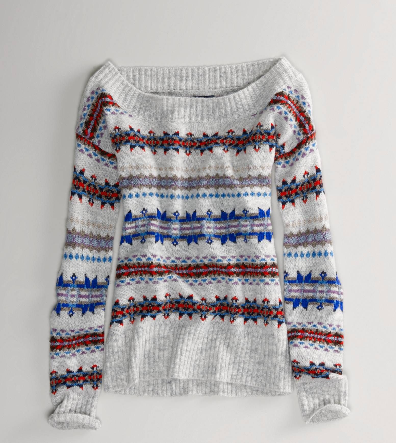 AE Fair Isle Off-Shoulder Sweater   Fall/Winter Style   Pinterest ...