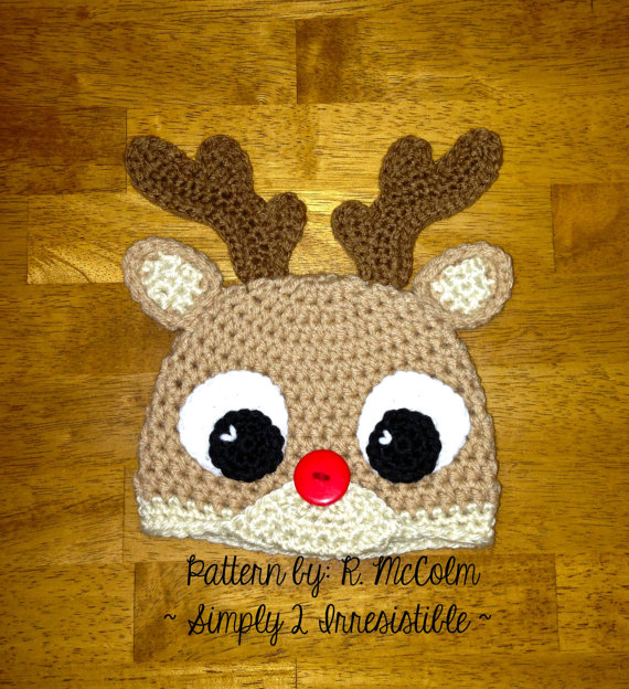 Rudolph Reindeer Hat - Crochet Pattern 57 - US and UK Terms - Beanie and  Earflap - Newborn to Adult - buy 385ced8ae73