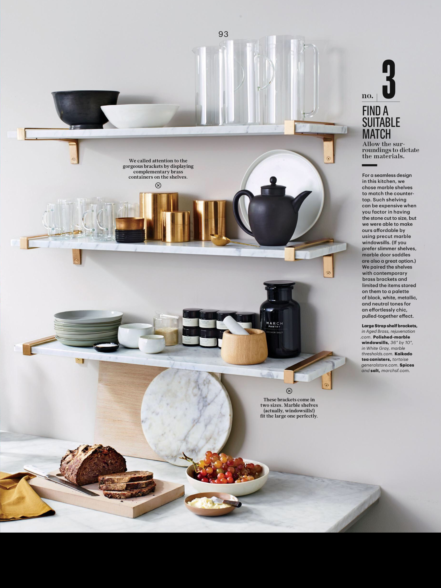 Marble open shelving in the kitchen kitchen pinterest open