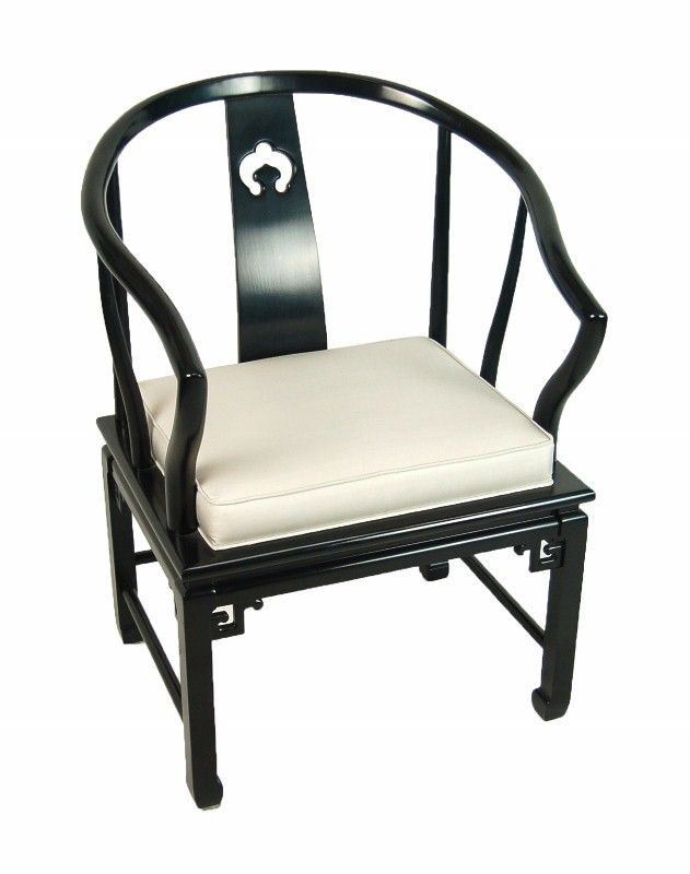 Black Chinese Horse Shoe Armchair $265 - Niles http://furnishly.com/catalog/product/view/id/2257/s/black-chinese-horse-shoe-armchair/