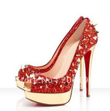 Designere Red High Heels With Spikes Red Bottom Shoes Pumps High