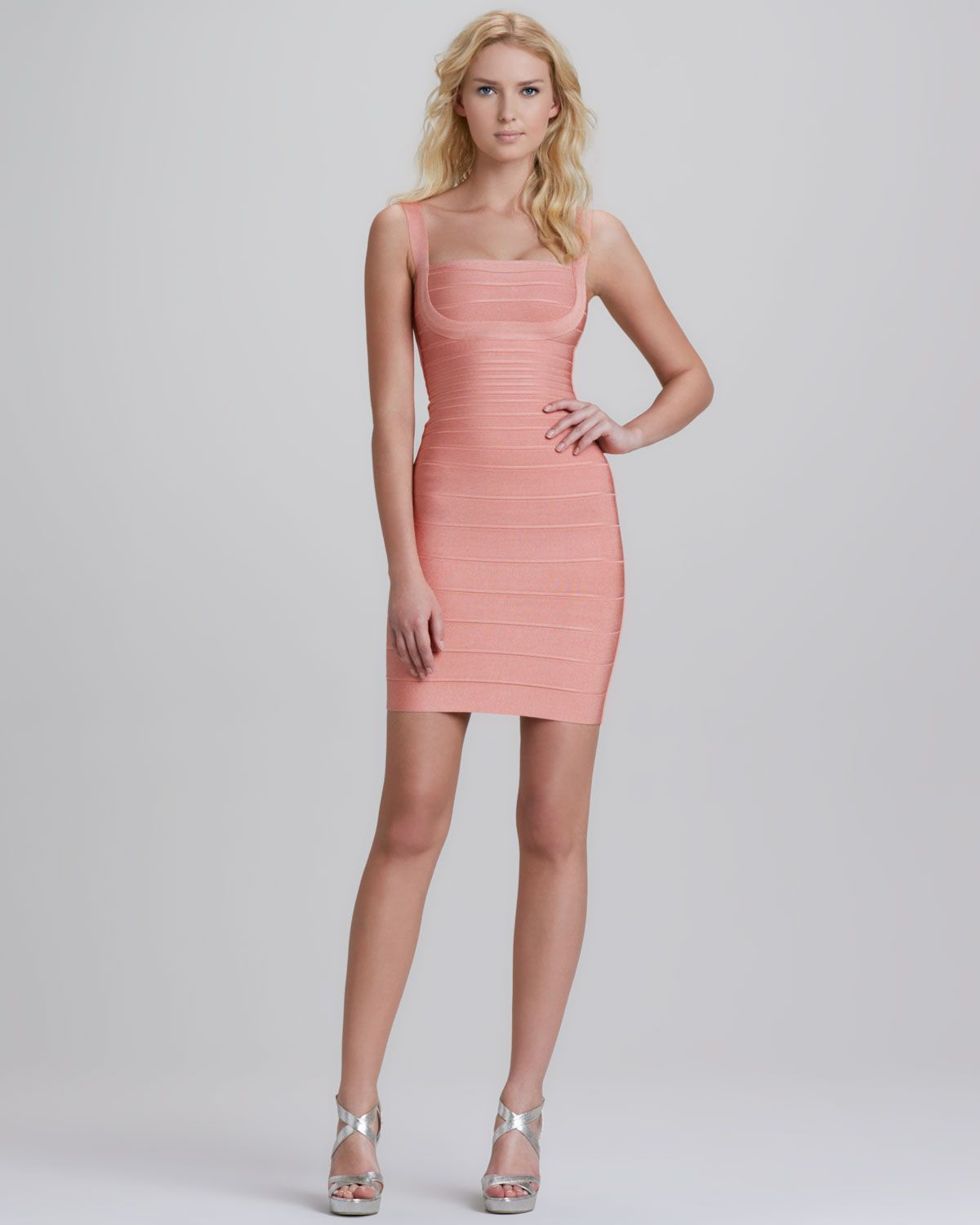 ❦ Herve Leger Sleeveless Square-Neck Bandage Dress - Neiman Marcus ...