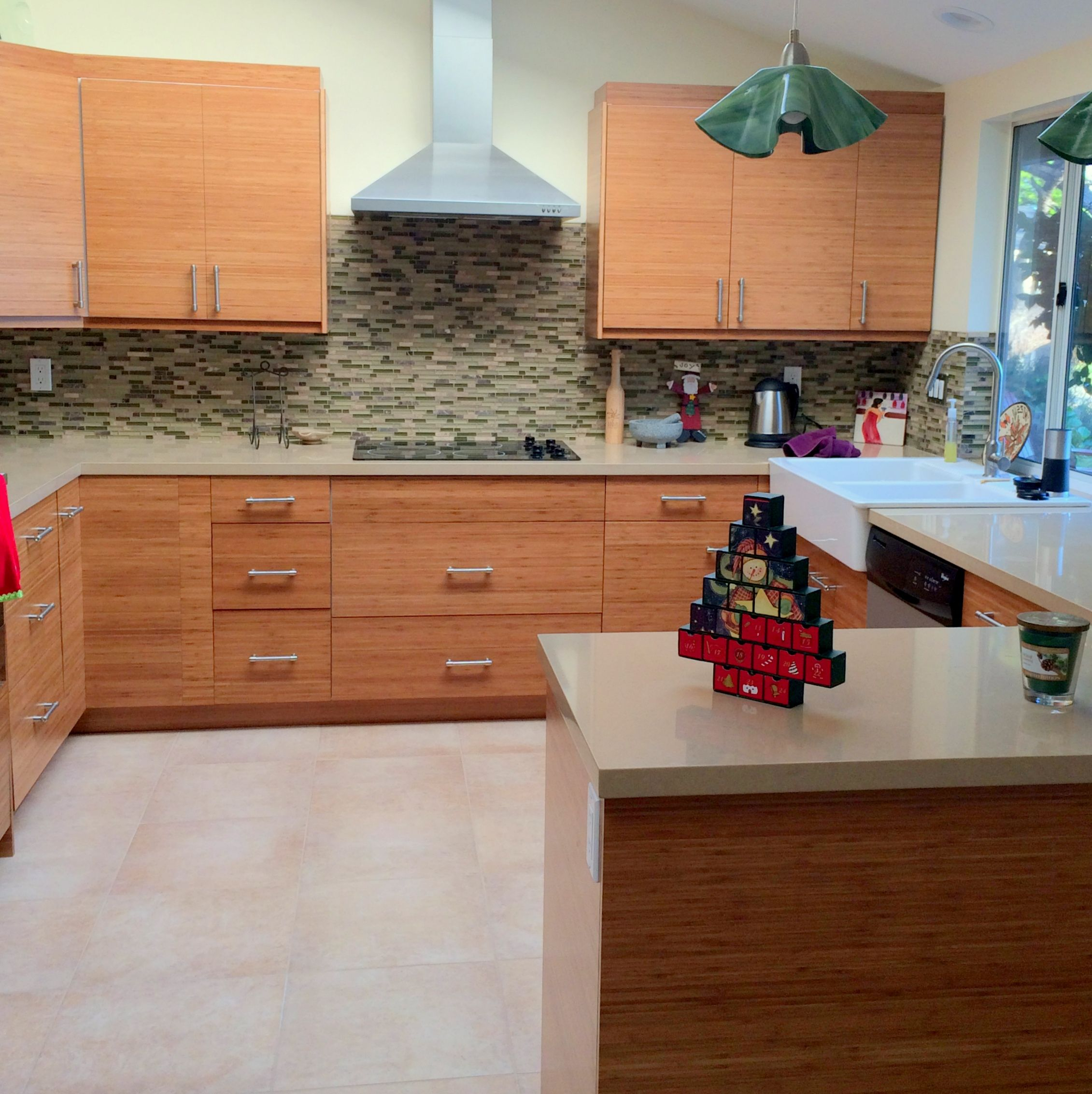 Ikea Kitchen Cabinets With Semihandmade Bamboo Fronts Kitchen
