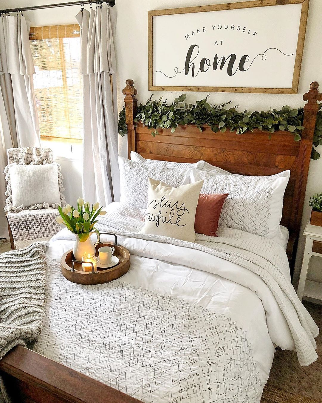 With A Guest Room Like This One From Shayfarm7 Who Would Even Think About Leaving Find Home Decor Items To C Guest Room Decor Remodel Bedroom Guest Bedroom