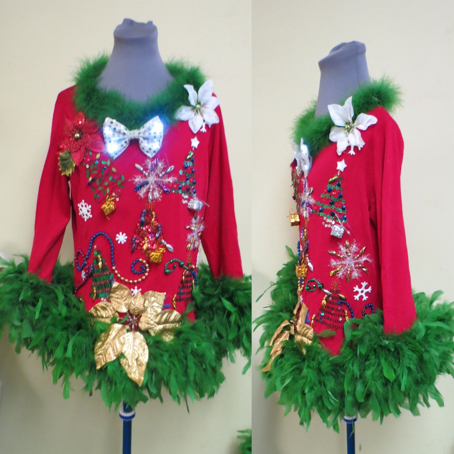 Bedazzled Glam Red Tacky Ugly Christmas Sweater Beaded Trees, Light