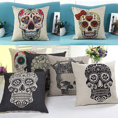 Skull Vintage Linen Cotton Throw Pillow Case Sofa Home Decor Cushion Cover SALE!