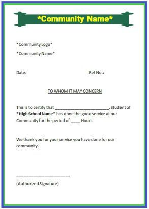 Sample Community Service Letter For High School Student  Community