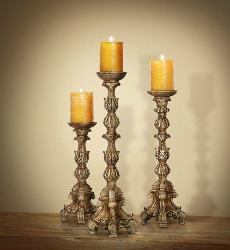 Tall Candle Holders Large Pillar Set Of 3 Carved Style Ornate Baroque Style New Candle Holders Tall Candle Holders Pillar Candle Holders