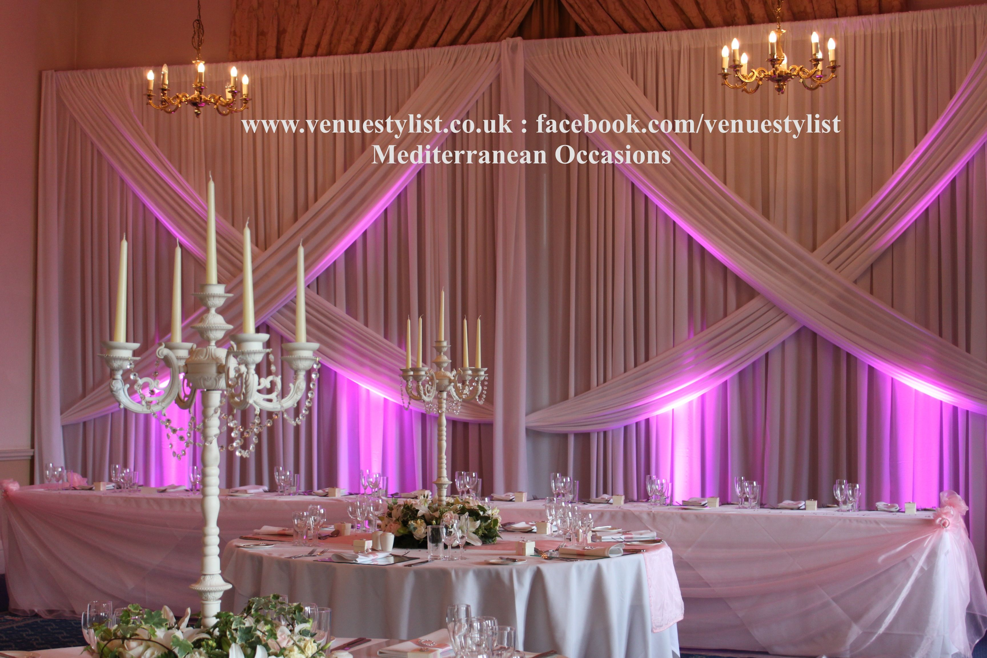 Columns ivory fabric uplighting wedding ceremony downtown double tree - Wedding Backdrop Criss Cross Drape