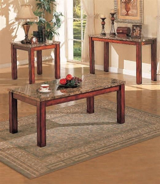 Bologna Brown Marble Wood Marble Coffee End Table Set Cherry