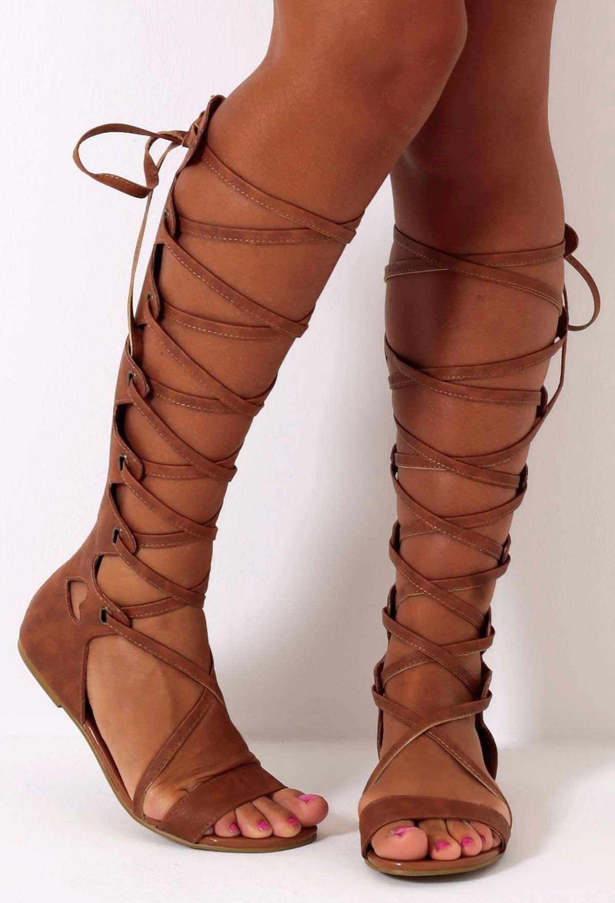 Aphrodite Tan Adjustable Gladiator Sandal Boots | Gladiators