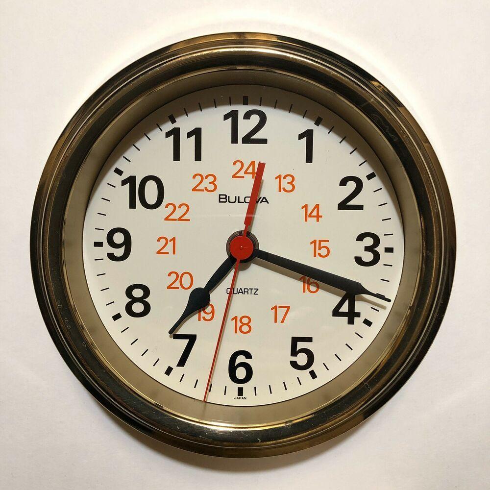 Vintage Mid Century Bulova Quartz Ship 24 Hr Wall Clock 4mg601 1970s Ex Working Bulova In 2020 Wall Clock Clock Wall
