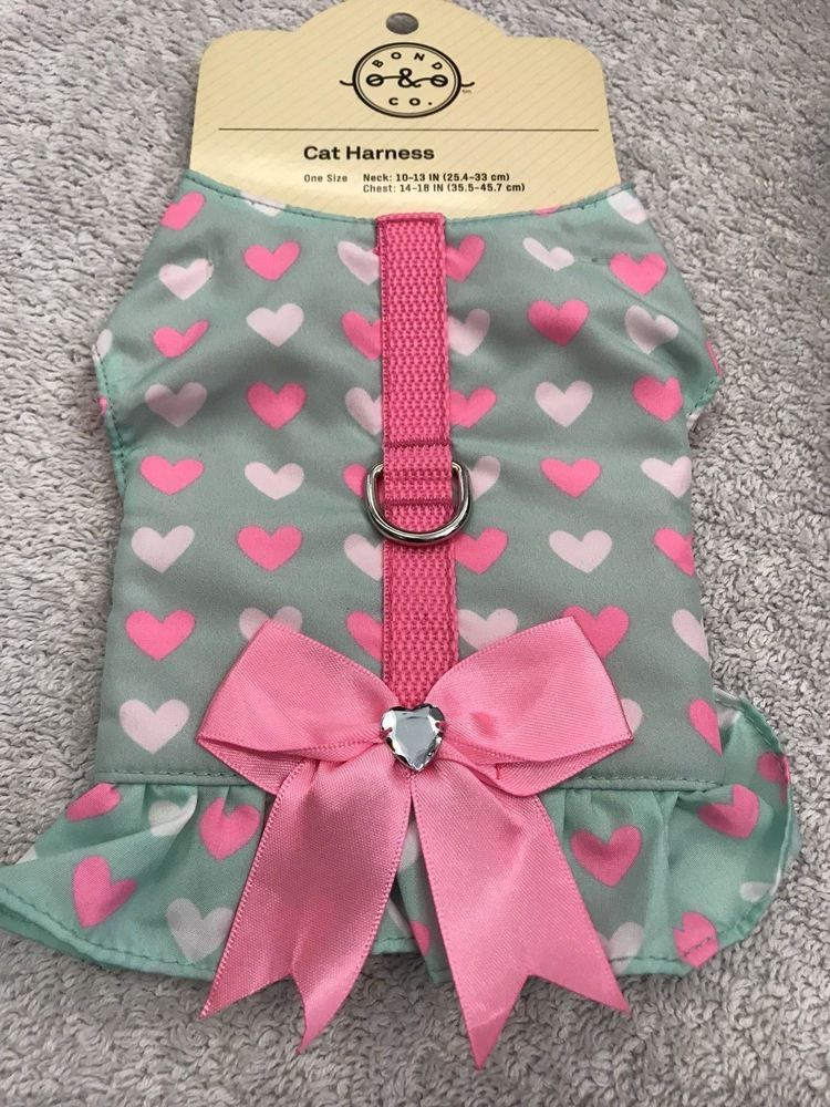 Cat Harness Pet Clothes Feline Kitten Green With Pink s Ribbon ...