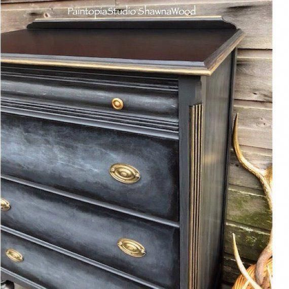 Vintage Black Dresser Gray Chest Of Drawers Paintedfurniture