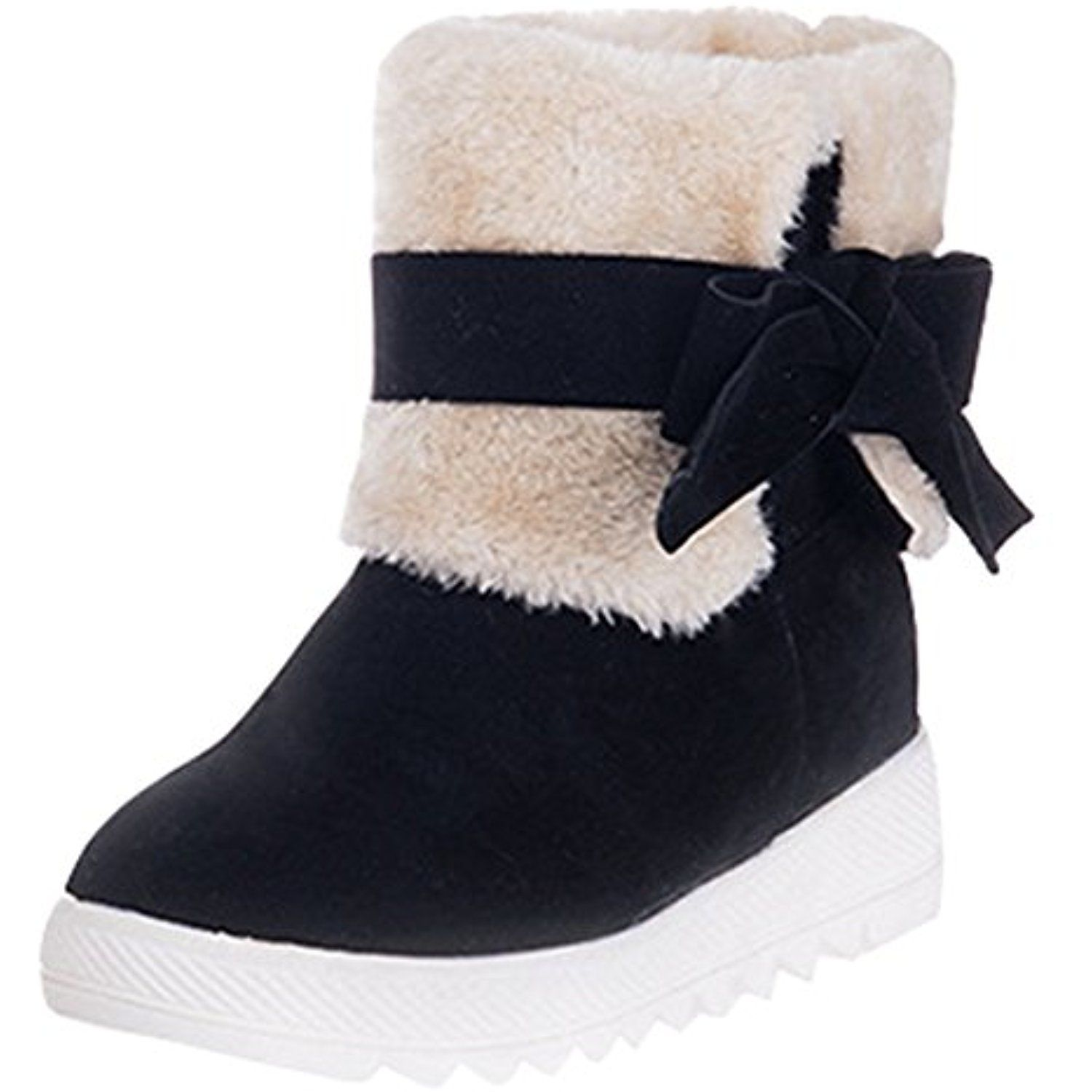 Women's Sweet Folded Mid Heels Wedge Heighten Faux Fur Lined Snow Booties With Bow