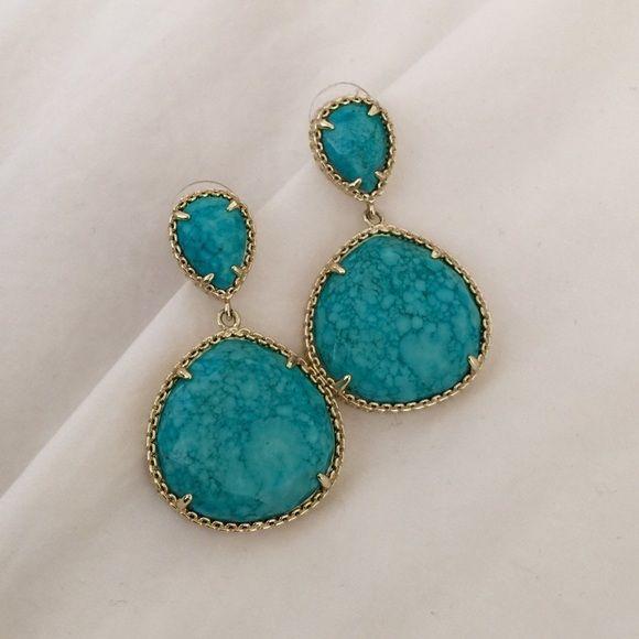 Kendra Scott Turquoise Penny Earrings KS Penny Earrings. Turquoise color with gold colored hardware. EUC Kendra Scott Jewelry Earrings