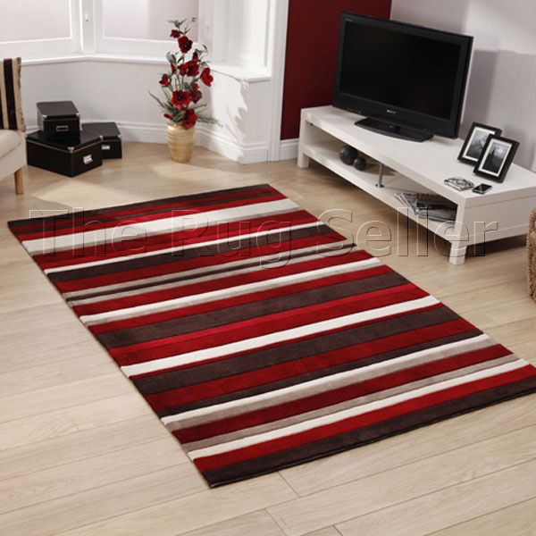 Hong Kong Rugs 2022 Red Brown Stripes