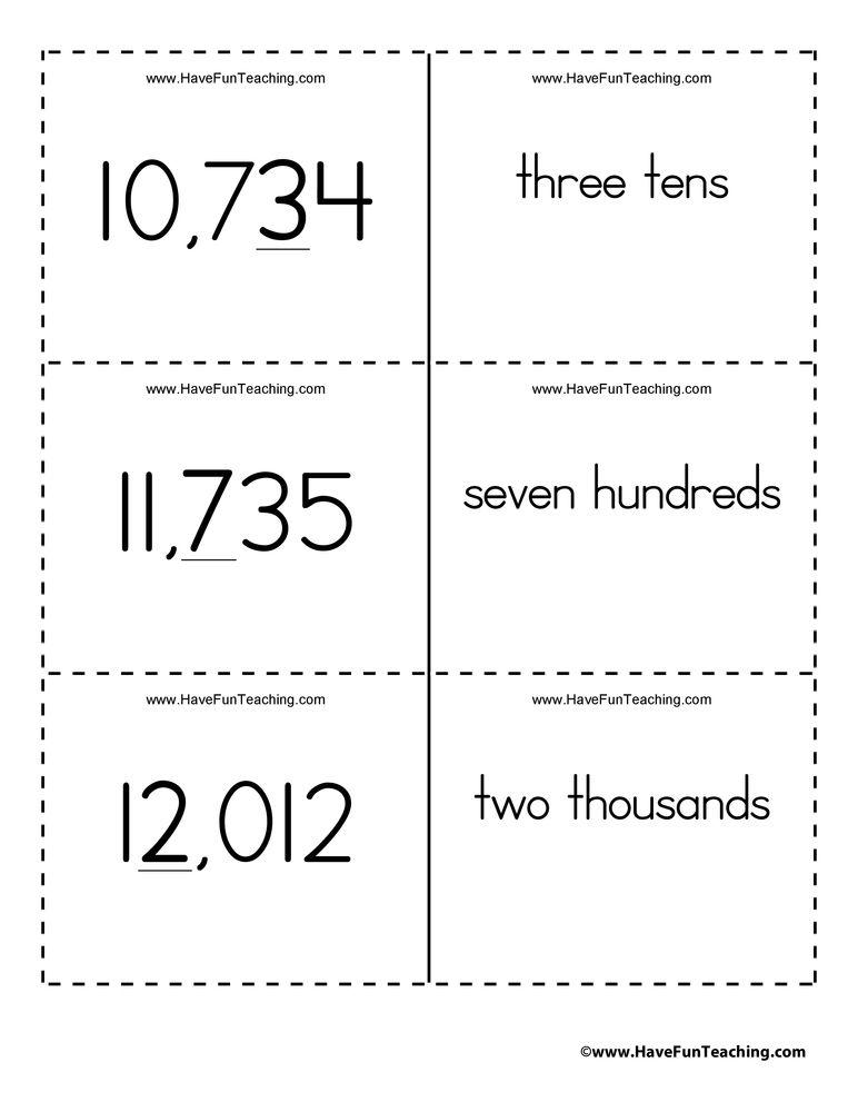 Ones Tens Hundreds Thousands Ten Thousands Place Value Flash Cards Have Fun Teaching Place Value Worksheets Place Values Have Fun Teaching