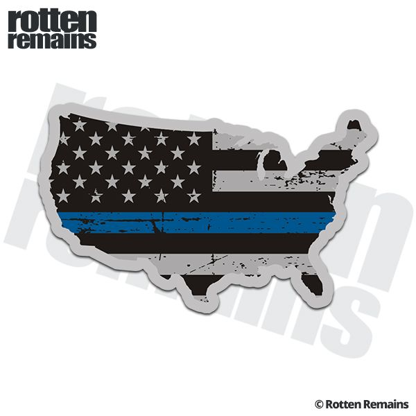 USA Map Thin Blue Line Decal US Tattered American Flag Police - Us flag and map