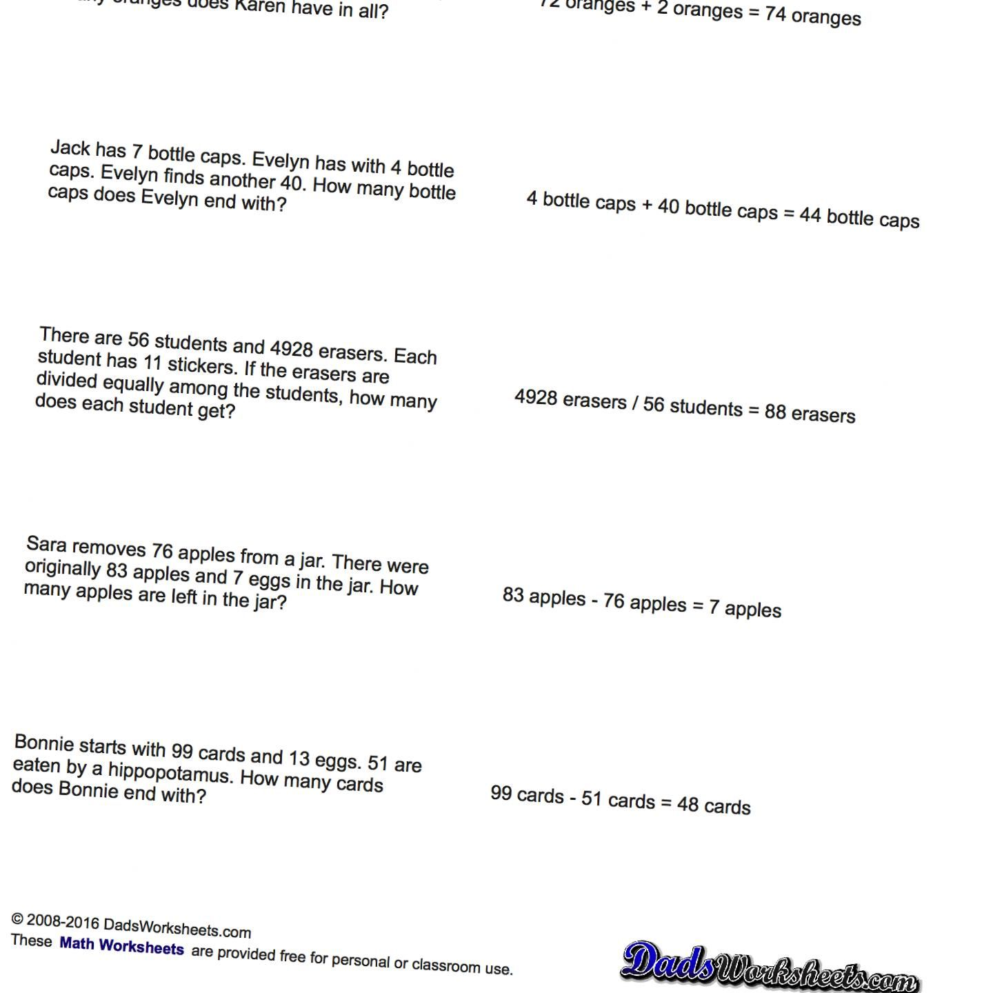 Word Problems Extra Facts Mixed Operation Word Problems