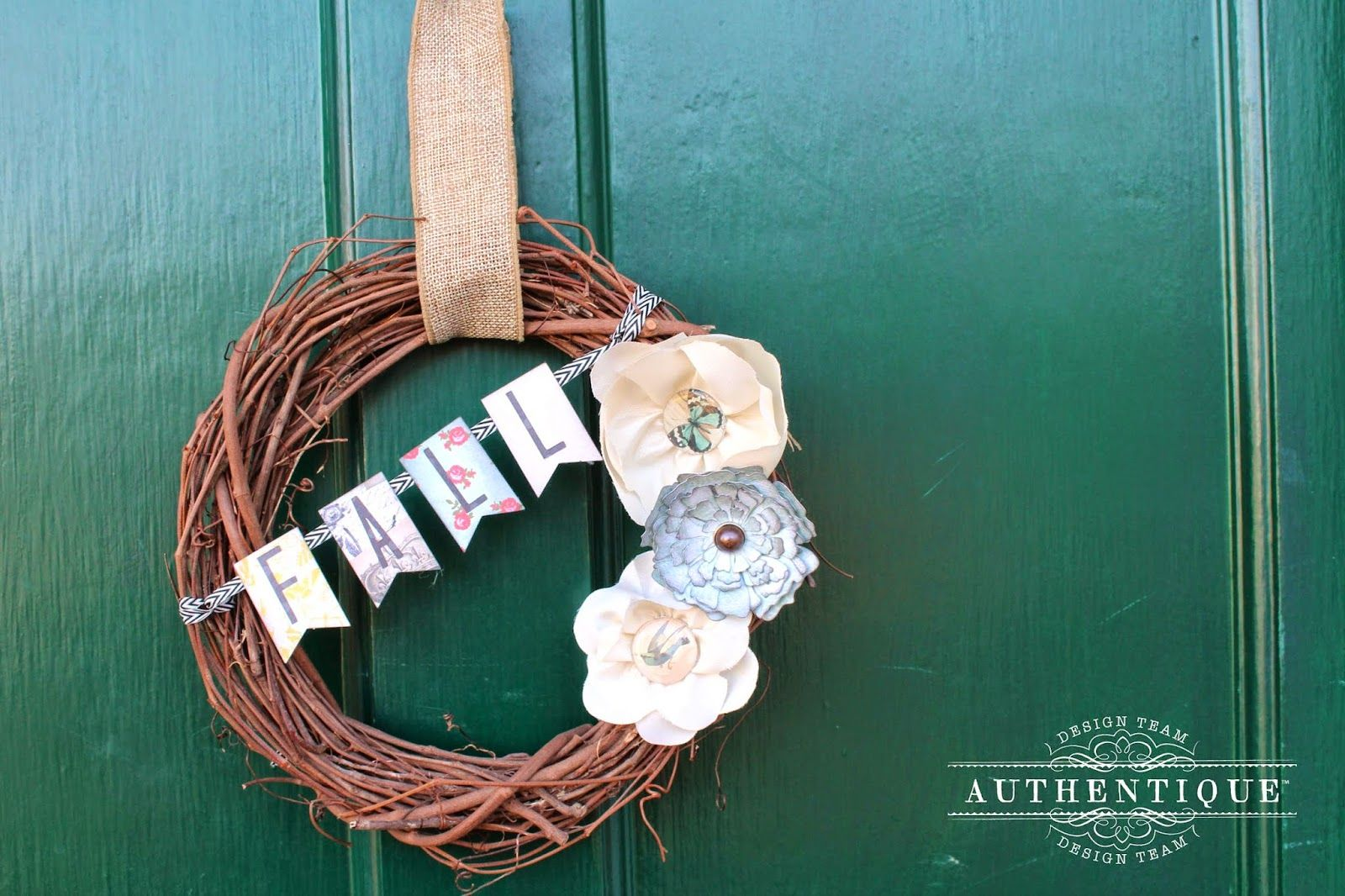 "Authentique Paper, May Arts, Imagine Crafts Blog Hop- Create a Fall Wreath with ""Harmony""  http://blog.authentiquepaper.com/2014/09/authentique-paper-may-arts-imagine.html"