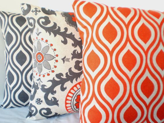 Orange Gray Decorative Throw Pillows Cushion By Fabricjunkie40 Amazing Gray And Orange Decorative Pillows