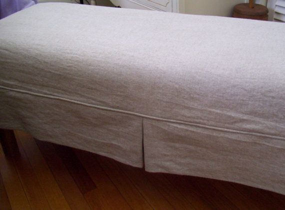 Bench Slipcover Linen Tailored Skirt Bedroom By AppleCatDesigns, $125.00