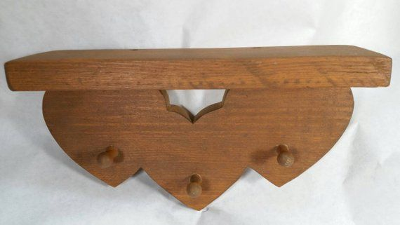 Small Shelf With Hooks Farm House Decor Key Ring Holder Country 3 Heart Accent