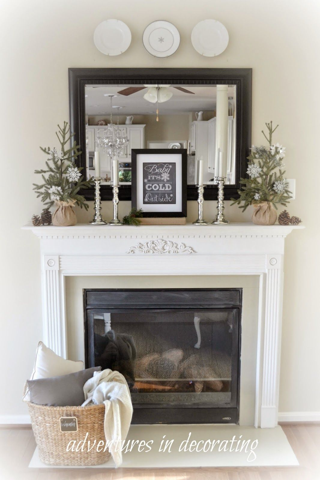 Modern Fireplace Mantel Decor Love The Basket With Blanket In Front Of The Fireplace