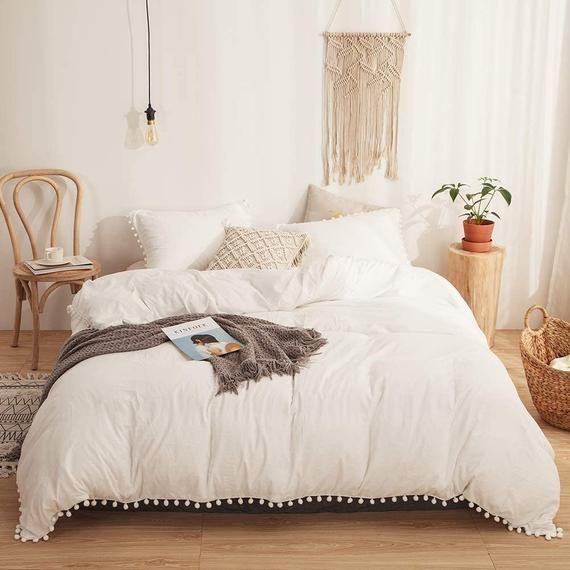 5 Pc Set Pom Pom Duvet Cover King White Cotton Duvet Cover Etsy White Bed Set Redecorate Bedroom Queen Bedding Sets