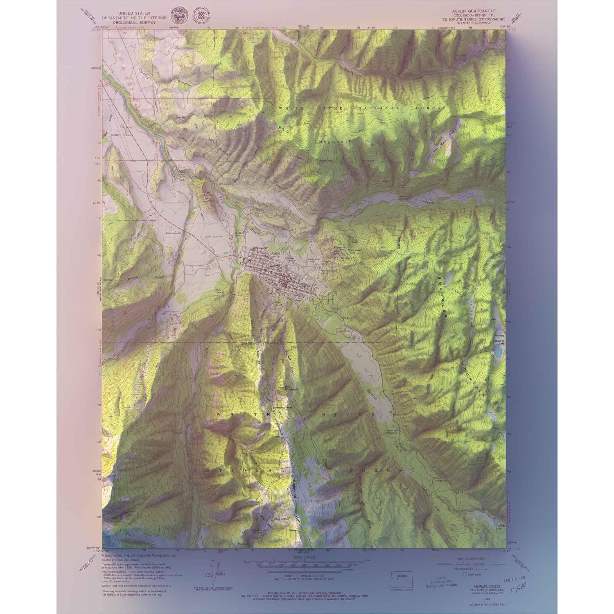 Aspen Colorado Scott Reinhard Maps Topographic Map White Gallery Frames Map
