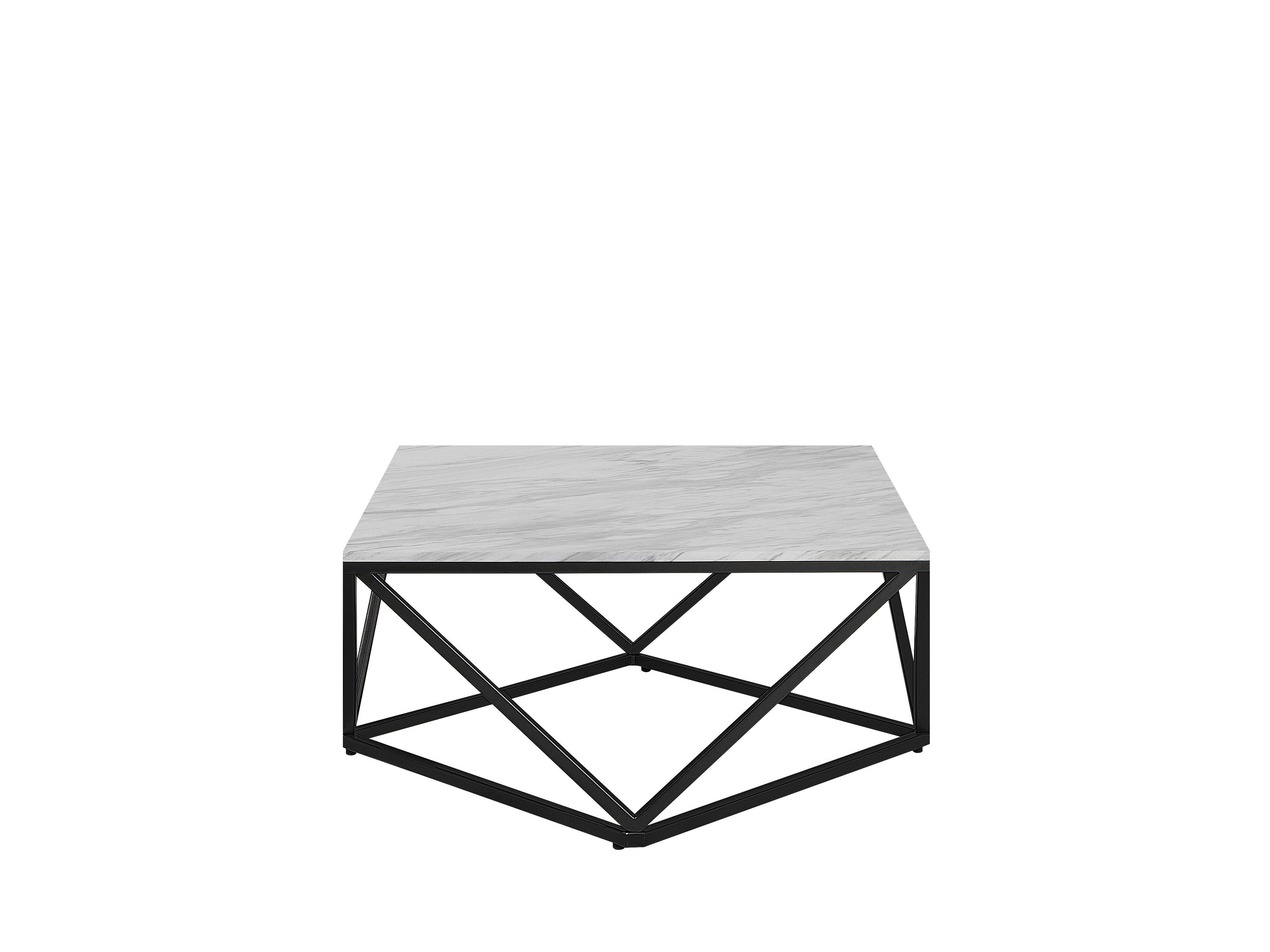Couchtisch Weiß Schwarz Marmor Optik Quadratisch 80 X 80 Cm Malibu Wohnzimmertische Couchtisch Marmor Couchtisch