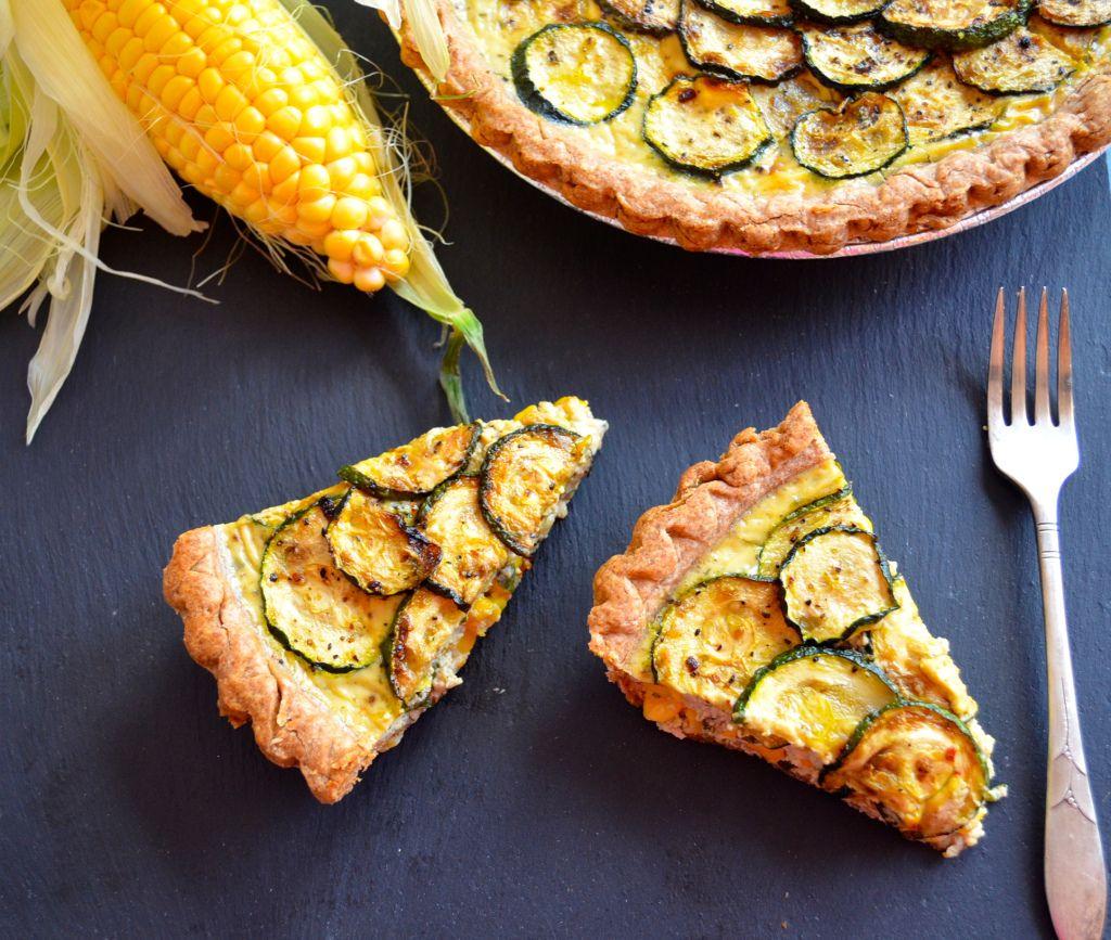Dairy Free Corn and Zucchini quiche #vegetarian #memorialDay #DairyFree #zucchini #quiche #recipe