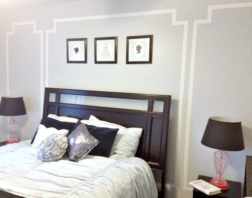 definitely doing this in my bedroom with washi tape faux picture frame molding