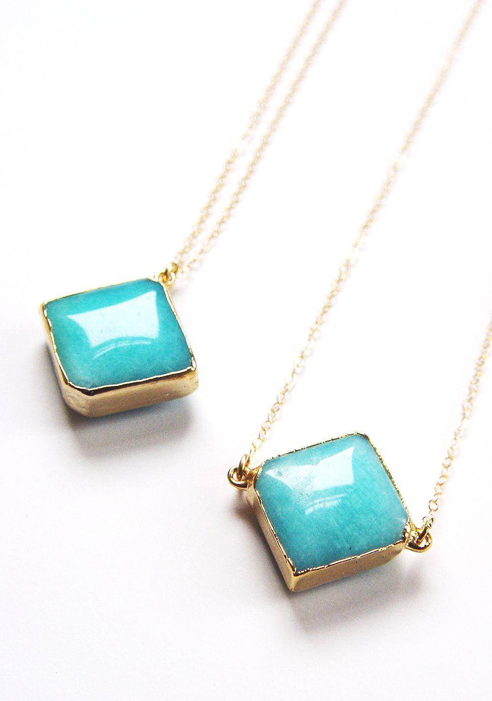 amazonite square gold necklace...