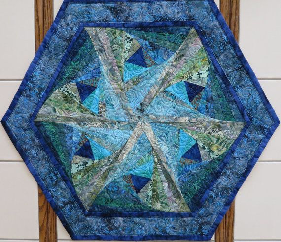 Spiral Hexagon Quilted Batik Table Center Piece Blues And Greens