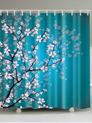Plum Blossom Mouldproof Bathroom Shower Curtain Fabric Shower Curtains Shower Curtain Bathroom Shower Curtains