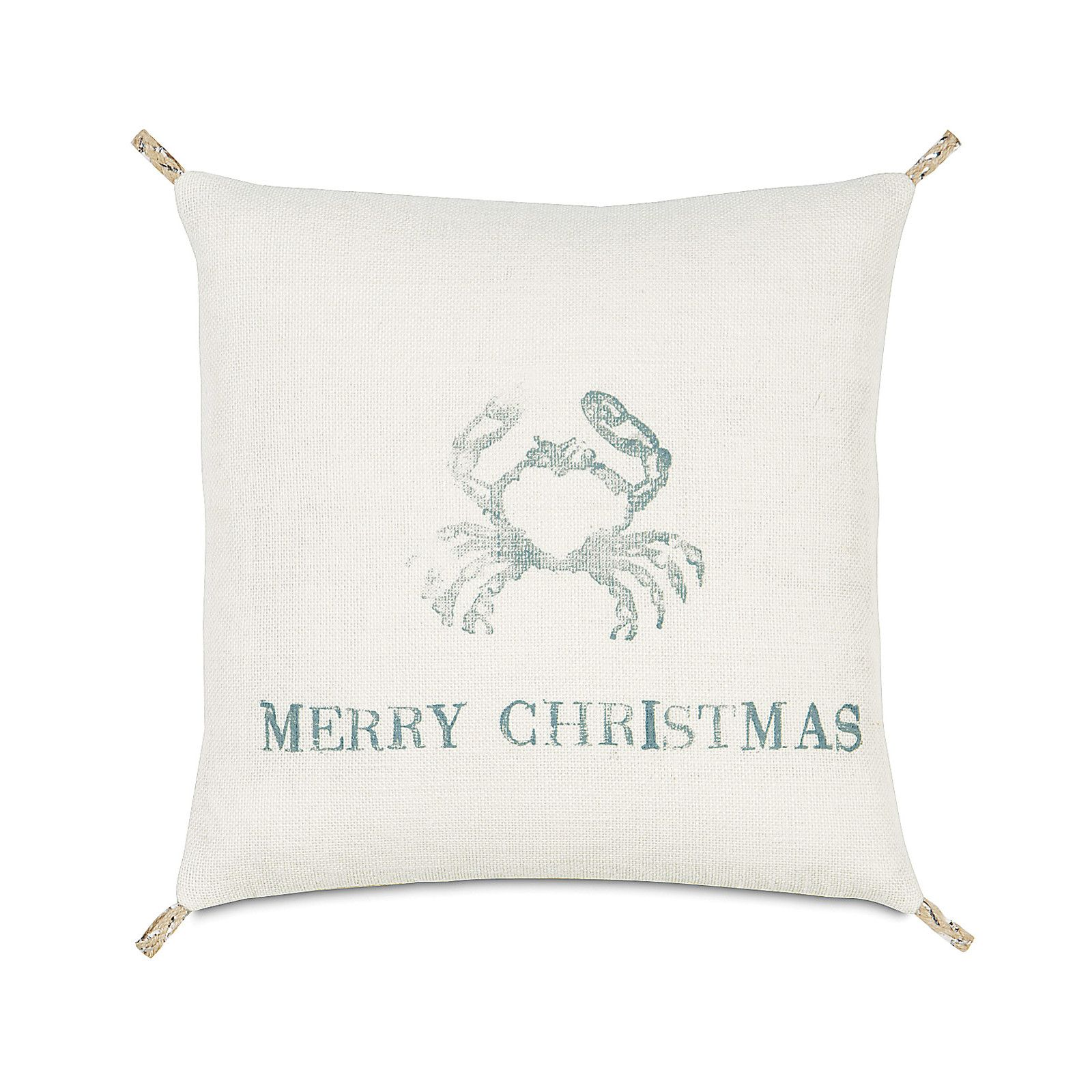Eastern Accents Coastal Tidings Festive Crab Throw Pillow ...