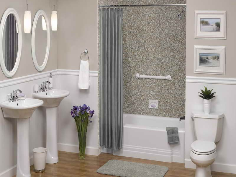 Tile Shower Walls Ideas and Pictures gray curtain Bathroom