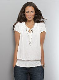 Drawstring Smocked Peasant Top    Was $32.94  Now$9.88