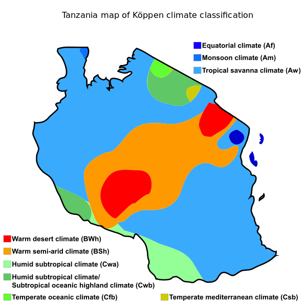 Tanzania map of Köppen climate classification | Africa Weather