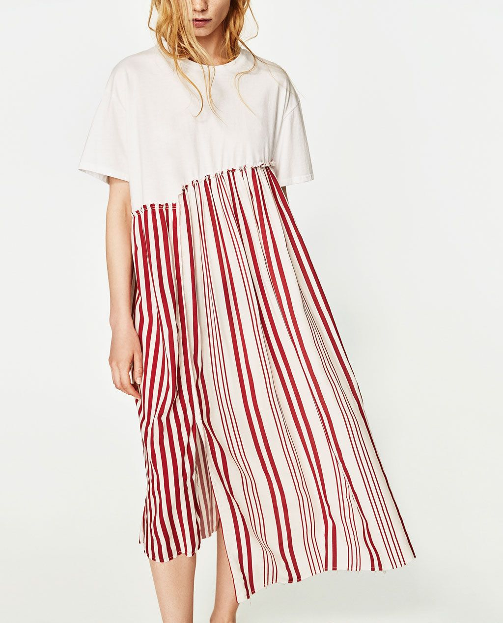 Cool NWT SS2017 CUTE ZARA Red & White Contrast Striped Dress Size ...